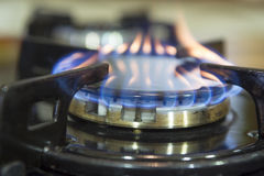 Blue flames on gas stove burner. Royalty Free Stock Images