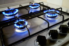 Blue flames from gas stove. Blue flames oner gas stove Royalty Free Stock Image
