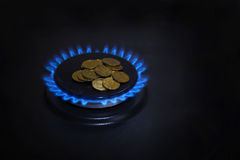 Blue flames of natural gas burning from a gas Royalty Free Stock Photos