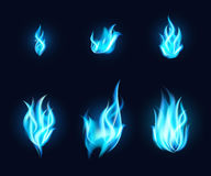 Blue Flames Set Royalty Free Stock Photography