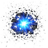 Blue flaming meteor explosion isolated on white Stock Images