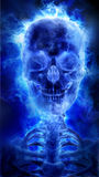 Blue flaming skull Royalty Free Stock Image