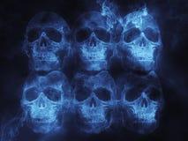 Blue flaming skulls Royalty Free Stock Photography