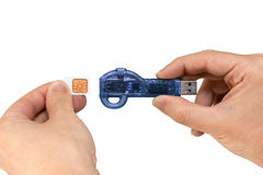 Blue flash drive on hand with isolated white background Royalty Free Stock Photos
