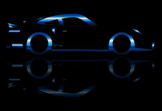 Blue Flash Fast Car Stock Photography