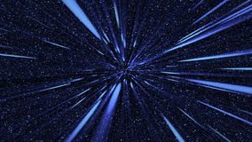 Blue flash rays on many stars backgrounds stock video footage