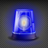 Blue Flasher Siren Vector. 3D Realistic Object. Light Effect. Rotation Beacon For Police Cars Ambulance, Fire Trucks. Emergency Flashing Siren.  On Transparent Royalty Free Stock Images