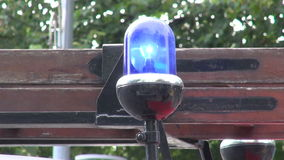 Blue flashing  lamp on car stock footage