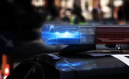 Blue Flashing Sirens Of Police Car During The Roadblock In The C Stock Photos