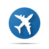 Blue flat airplane pictogram Stock Photography