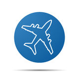 Blue flat airplane pictogram Royalty Free Stock Image