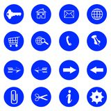 Blue flat buttons with internet icons Royalty Free Stock Images