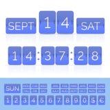 Blue flat flip calendar and countdown timer. Blue countdown timer and scoreboard numbers and monthes and weeks. Vector EPS10 illustration royalty free illustration