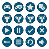 Blue flat game icons vector set Royalty Free Stock Photos