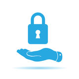 blue flat hand presenting lock icon Royalty Free Stock Images