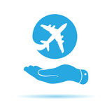 Blue flat hand showing airplane icon Royalty Free Stock Photography