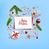 Blue flat lay. Flat lay Christmas composition with fir tree branches on light holiday background. Top view of Natural design elements. Festive background with Royalty Free Stock Photography