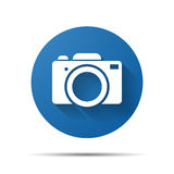 Blue flat photo camera icon. Illustration Stock Photography
