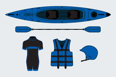 Blue flat rafting set with kayak, helmet, paddle, suit Stock Photography