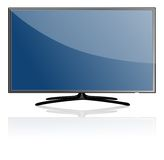 Blue Flat Screen TV Set Stock Photo
