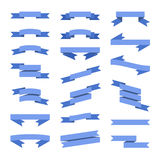 Blue Flat Style Ribbons Banners Set. Vector Royalty Free Stock Images