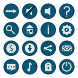Blue flat vector game icons set Stock Images