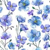 Blue flax. Floral botanical flower. Wild spring leaf wildflower pattern. Aquarelle wildflower for background, texture, wrapper pattern, frame or border royalty free illustration