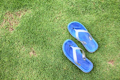 Blue Flip Flop. A pair of blue Flip Flop on Grass Royalty Free Stock Photos
