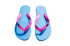 Blue flip flop isolated on white background. Thongs isolated against a white background Royalty Free Stock Photos