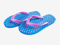 Blue flip flop with pink heart pattern Royalty Free Stock Image