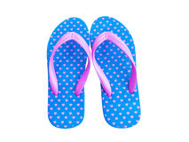 Blue flip flop with pink heart pattern Royalty Free Stock Photos