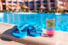 Blue flip flop sandals Stock Images