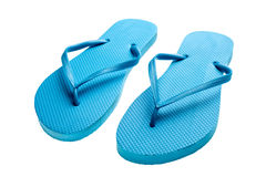 Blue flip-flops isolated Royalty Free Stock Photo