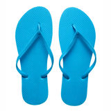Blue flip-flops isolated. Pair of blue flip-flops isolated on a white background stock photos