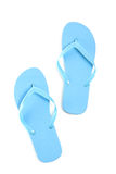 Blue flip flops over white Stock Photo
