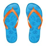 Blue flip flops. Pair of flip flops. This is file of EPS10 format royalty free illustration