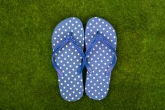 Blue flip flops in polka dots on the grass meadow royalty free stock photography