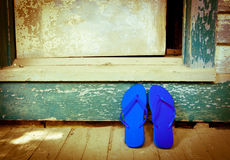 Blue Flip-Flops On The Porch Stock Photography