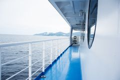 Blue floor on a ferry boat Stock Images