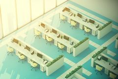 Blue floor office, top view toned. Top view of a modern office interior with panoramic windows, a bright blue floor, white walls and rows of computer desks. 3d Royalty Free Stock Photo