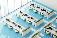 Blue floor office, top view. Top view of a modern office interior with panoramic windows, a bright blue floor, white walls and rows of computer desks. 3d Stock Photo