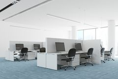 Blue floor open space office corner. Modern open space office corner with a blue carpet floor, white and glass walls, and computer tables. 3d rendering mock up Stock Photography