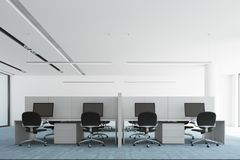 Blue floor open space office interior, front view. Modern open space office interior with a blue carpet floor, white and glass walls, and computer tables. Round Stock Photo
