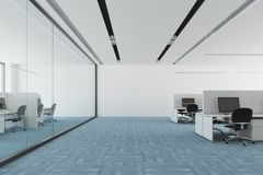 Blue floor open space office interior. Modern open space office interior with a blue carpet floor, white and glass walls, and computer tables. 3d rendering mock Royalty Free Stock Image