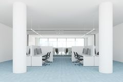 Blue floor open space office interior, side view. Modern open space office interior with a blue carpet floor, white and glass walls, and computer tables. A side Stock Photography