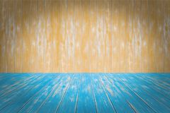 Blue Floor And Orange Wall Wood Texture Background Stock Photos