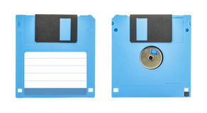 Blue floppy disk. Front and back of a blue floppy disk isolated on white background Royalty Free Stock Photos