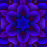 Blue Floral Abstract Image. An abstract illustration of a blue and purple floral pattern with a glowing red background vector illustration