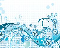 Blue floral background. With flowers, curves and place for text Royalty Free Stock Images