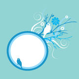 Blue floral background. Blue bird and floral background with space for text stock illustration